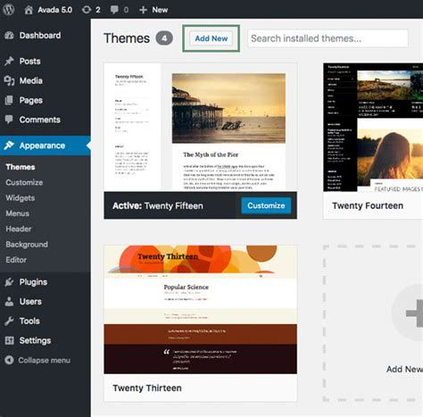 avada theme not installing wordpress installation theme fusion