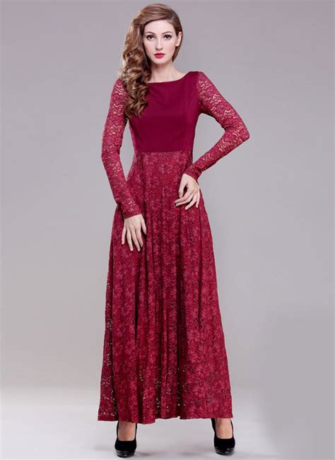 Nr Maxi Dress Gamis Longdress Baby sleeve maroon lace maxi dress with scoop back rm396