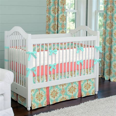 coral and aqua medallion crib bedding girl baby bedding