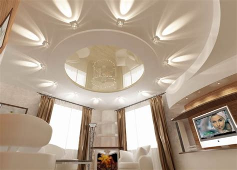 дизайн потолков из гипсокартона фото для зала разных вариантов