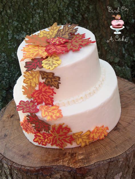 fall leaves cake decorations bird on a cake autumn leaves cake