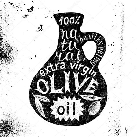 il disegno testo sagoma della bottiglia di olio d oliva con il disegno di