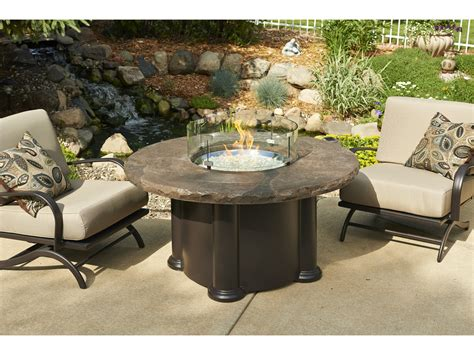 Outdoor Greatroom Marbleized Noche Colonial Chat Height Patio Tables With Pit