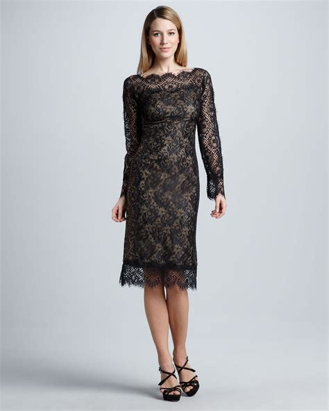 Tadashi Shoji Long Sleeve Lace Cocktail Dress