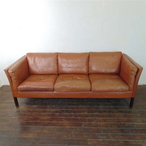 mogensen style 3 seater light brown leather sofa lovely