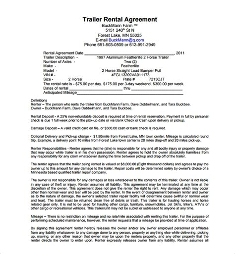 Trailer Lease Agreement Template 11 Trailer Rental Agreement Templates Pdf Sle Templates