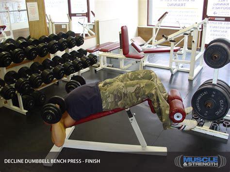 dumbbell bench press tips decline dumbbell bench press video exercise guide tips