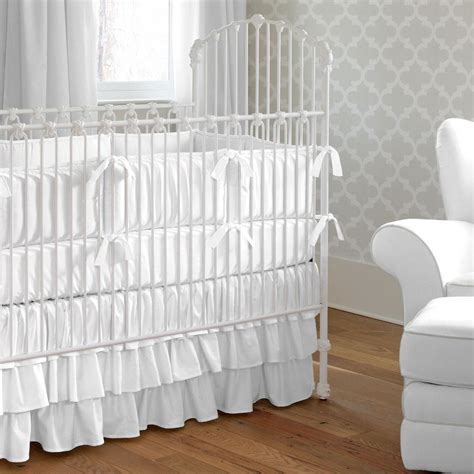 Designer Crib Bedding Sets Solid White Crib Bumper Carousel Designs