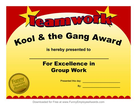 fun employee award certificates just b cause