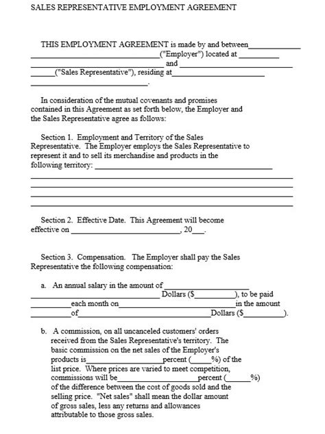 sales rep contract template 9 free sle sales representative agreement templates