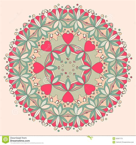 flower pattern in circle ornamental round flower pattern with hearts stock photos