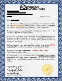 Charity Scams Letter phony letter from publishers clearing house lands in mailboxes across