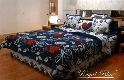 Rumbai Blue royal blue bedcover kintakun 180 fitted zahra sprei