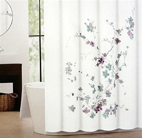 purple and gray shower curtain tahari printemps purple plum gray teal on white cotton