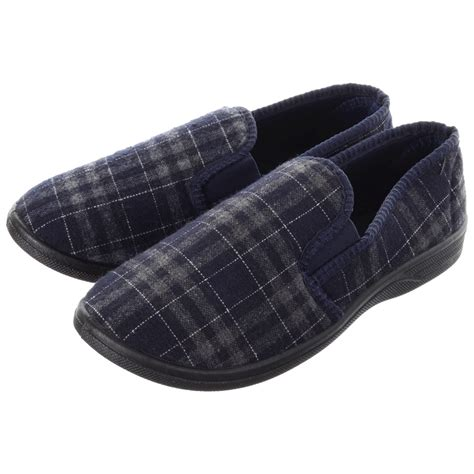 mens slippers mens comfy check design slippers with elasticated