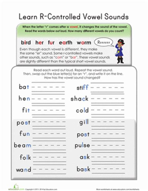 R Controlled Vowel Worksheets by R Controlled Vowels Worksheet Education