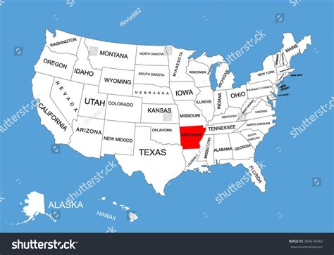 united states map with arkansas highlighted arkansas state usa vector map isolated stock vector