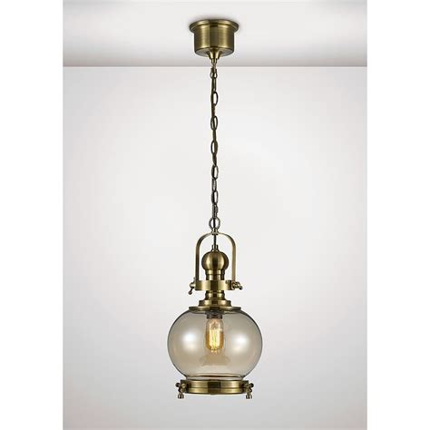 Small Pendant Lights Uk Diyas Single Light Small Ceiling Pendant In Antique Brass And Shaped Glass Shade