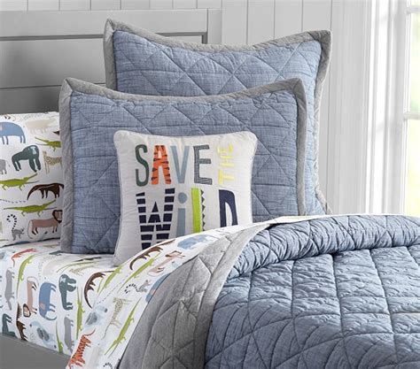 chambray bedding theo chambray quilted bedding pottery barn kids