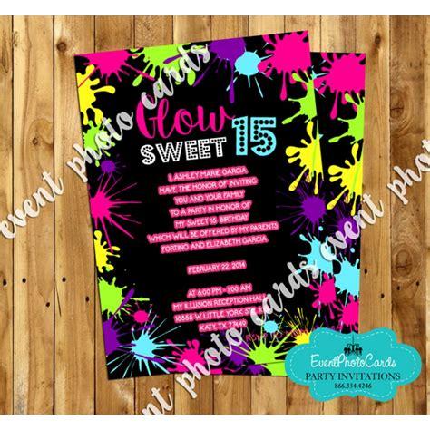 neon invitations templates neon glow sweet 15 invites quinceanera birthday