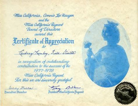 pageant certificate template miss california pageant certificate of appreciation
