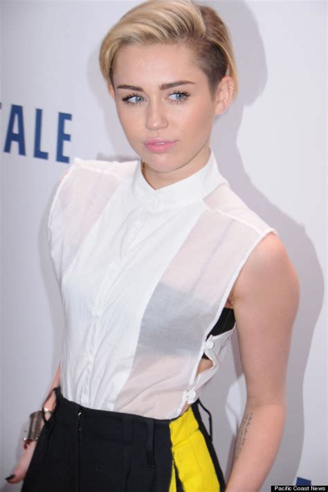 Ivone Blouse By Grande by Miley Cyrus Wears Sheer White Top Black Bra To Z100 S
