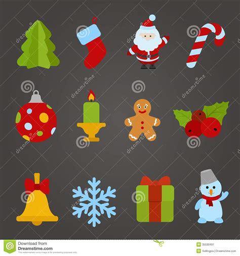 Hiasan Pohon Natal Tree Ribbon Slinger vector flat design icon set happy new y stock image image 35530491