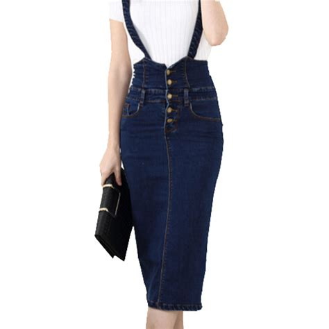 Suspender Denim Skirt high waist suspender school skirt front button