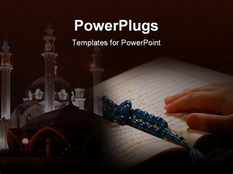 powerpoint template hand on koran with prayer beads and a