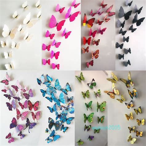 Butterfly 3d Wall Stickers 12pcs decal home decor room wall stickers 3d butterfly