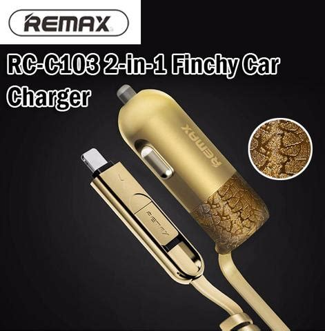 2in1 remax rc c103 finchy car charger micro usb 8 pin lightning androi sglelong
