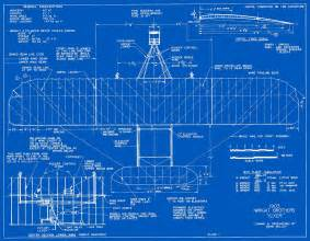 Drawing Blueprints measured drawings of the 1903 wright flyer plate 1 top view based