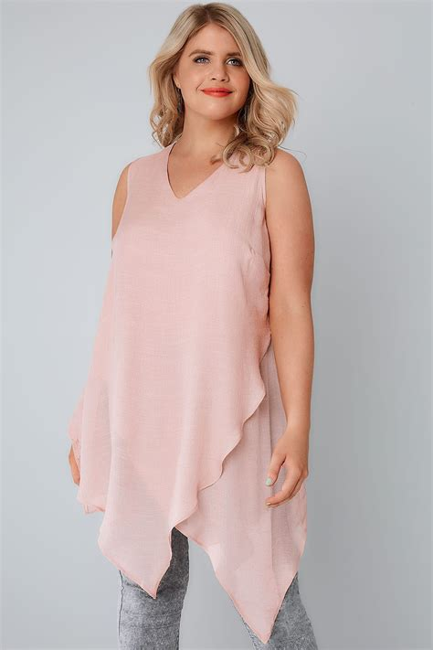 Layer Top blush sleeveless top with layered front plus size 16 to 36
