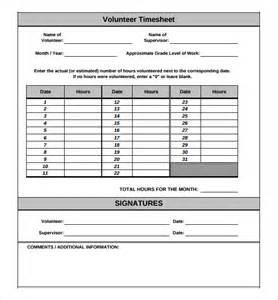 volunteer report template 11 volunteer timesheet templates free sle exle