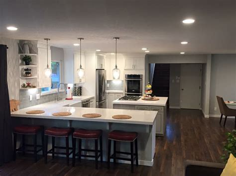 No Door Kitchen Cabinets Open Concept Kitchen Living And Dining Area Remodel