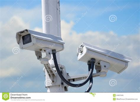 Backyard Surveillance by Outdoor Security Cameras Royalty Free Stock Photo Image