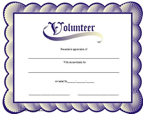 volunteer recognition certificate template a printable volunteer certificate with a blue scalloped