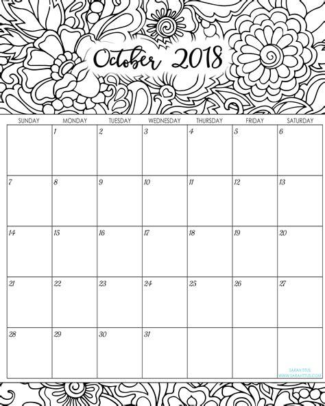 printable calendar 2018 in color 2018 monthly coloring calendars printables sarah titus