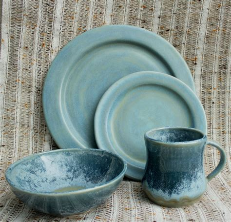 Pottery Dinnerware Sets Handmade - glacier morning dinnerware set handmade stoneware pottery