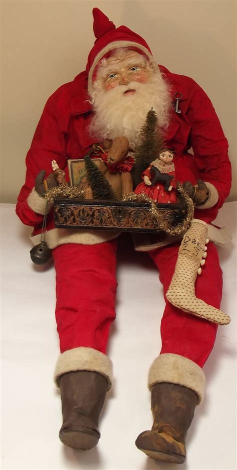 a large sitting santa handmade large sitting santa claus antique box filled with handmade toys by sweet s