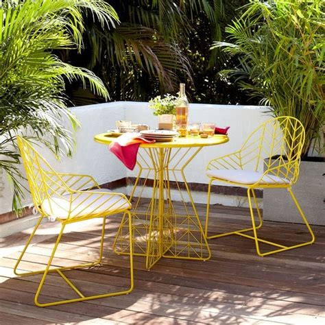 Yellow Patio Furniture Bend Dining Table 2 Chairs Yellow Modern Outdoor Dining Sets By West Elm
