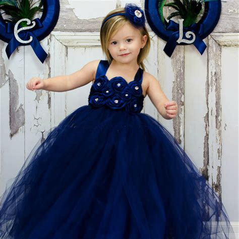 Princes Gown Tutu Dress Baby 8 Thn Code A3 navy blue children dress princess baby tutu dress for birthday photography flower