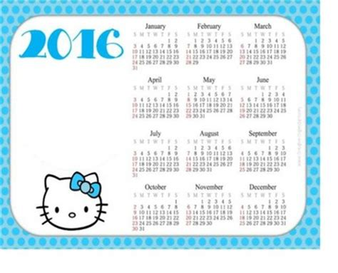 printable calendar 2016 hello kitty 2016 calendar printable hello kitty calendar template 2016