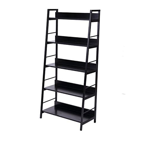 ladder bookcase black homcom deluxe 5 shelf modern ladder bookcase black