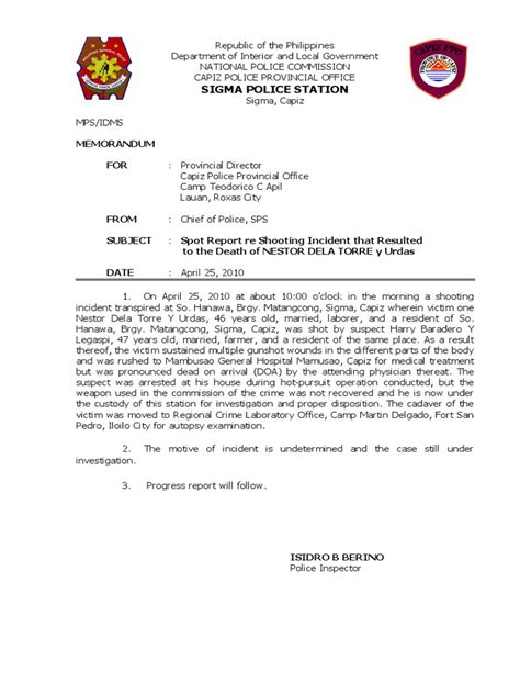 Advance Letter For Operation Spot Report Shooting Incident Doa Affidavit