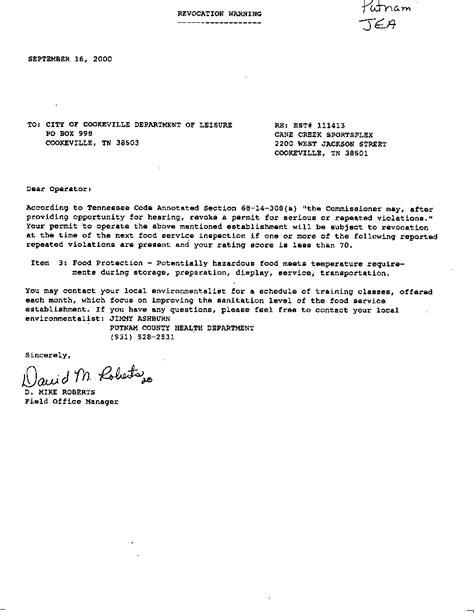 College Warning Letter sle warning letter for awol employee letter of