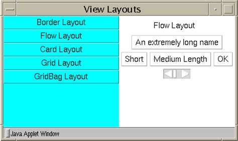 default layout manager for panels and applets exploring the awt layout managers
