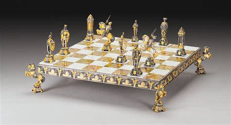 themed chess sets medioevo gold and silver themed chess board