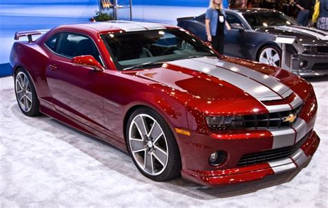 custom chevrolet camaro in metallic paint and white car stripes racing car modified