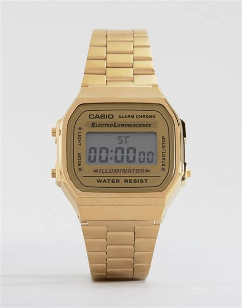 casio casio a168wg 9ef gold plated digital at asos